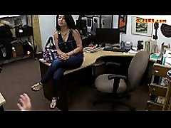 Cuban chick gets her hairless snatch screwed in the backroom