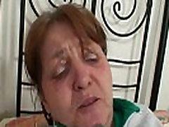 Injured old lella berardi masturbation is healed by cock