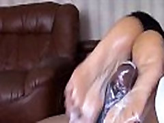 Black wife gives nice footjob with happy end