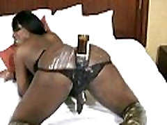 Ebony shemale with puffy nipples shoots cumload from boob presser