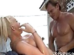 Bikini carwash of busty blonde turns into lesbian kissing and hardcore public