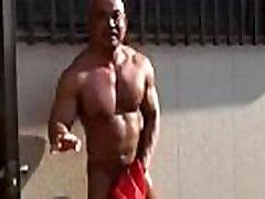 japanese muscle jerk and cum public