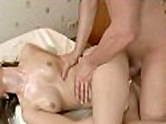 Stud is massaging hottie with oil
