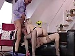 Older British dude has hot FFM threesome with blonde in stockings