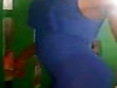 Sexy Carla busty old black Ivoirienne Grils twerking big Ass on blue dress