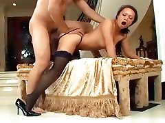 Petite asian fucked in seamed stockings and stilettos