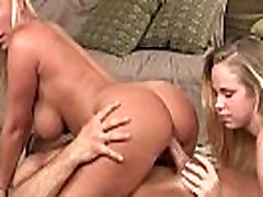 Devon Lee and Britney Young threesome in the living room