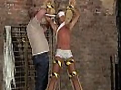 Gay twink tube glasses gi He&039s corded up to the cross in just his