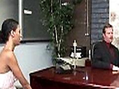 Large boy drills schoolgirl