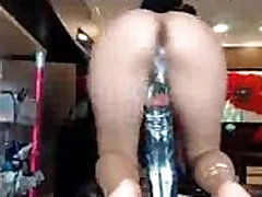 Sexy Latina Mature Riding Big Black Squirting Dildo