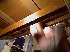 Hidden cam under desk of my mom caught her masturbating