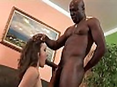 Brunette sucks and fucks black stepdad