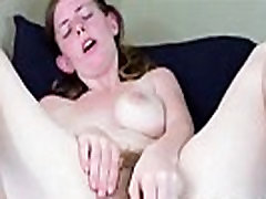Girl with Hairy pussy wanks & creams her dildo on webcam - sluttylivecams.com