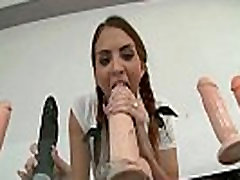 Horny school girl oils down and fucks her own ass with huge dildo
