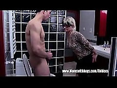 Grey Haired shoplifters real sex Fucks Her Bathroom Jerking Stepson