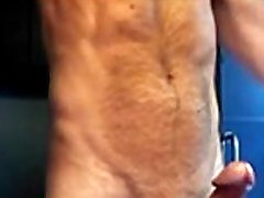 hairy body with big cock jerk and cum