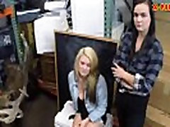 Lesbian couple threesome at the pawnshop to earn money