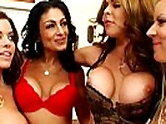 Milf femdoms in lingerie get cumshot from sub