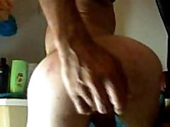 gapeing my ass open with a bottle