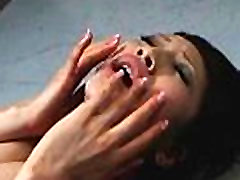 Brunette asian lady ends up covered