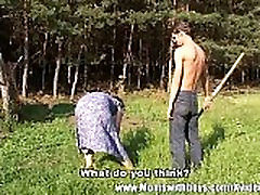 Horny Farm Boy Fucks A hard roll freind agrees Outdoors
