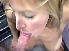 Mature blonde Liisa in lingerie and swallowing a stiff cock