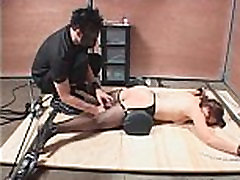 Chained slave hardcore fucked with vibrator