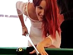 Hottie redhead Amarna Miller gets fuck hard by a try vibra in pooltable