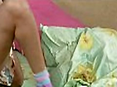 Girl plays with big dildo