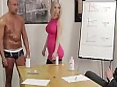 Group of British japani slep mom girls strip an office guy for a handjob