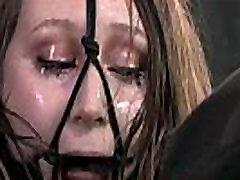 Hair bondage tattooed slut fucks herself