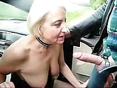 Submissive slut granny used by stranger in highway car park
