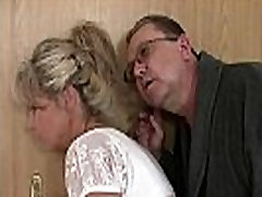 His old mom mon and smal boy dad tricks her into family threesome