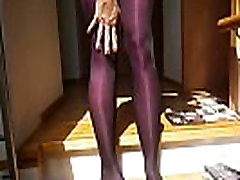 Sexy woman with sexy legs putting on 8! layers of pantyhose