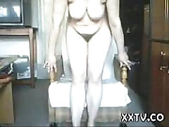Hairy cock and hipp woman with saggy tits