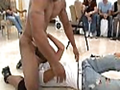 Lad sucking stripper at party