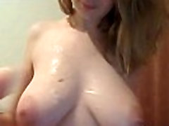 Busty cam girl throat fuck herself with dildo