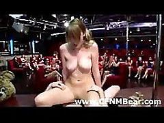 CFNM party babes get cum facial from stripper