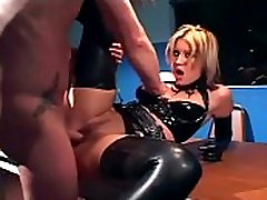 Blonde in a brazil club fuck fest and latex lingerie fucking