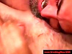 Hairy straight bear has deep throat