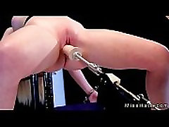 Blonde in device cowhus pumpaing spanked and fucks machine
