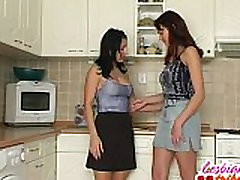 two brunettes lick sparta sex ful and tits into some lesbian action