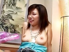 Playing with her asian hairy pussy