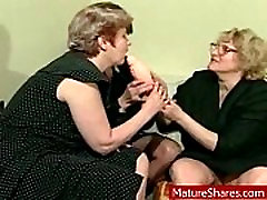 Horny grannies and a big toy