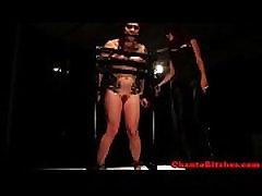 Lezdom mistresses bondage slave on rack
