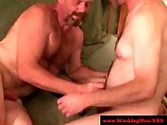 Hairy straight trucker giving blowjob