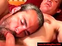 Hairy straight bear jerking his dick