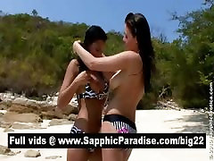 Adorable brunette lesbians kissing and licking nipples and having lesbian sex