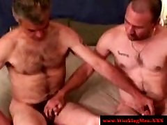 Hairy southern redneck giving blowjob
