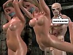 Two sexy tied up 3D hanymoon love babes getting fucked